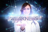Word - weakness and portrait of female nurse — Stock Photo