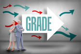 Grade against arrows pointing — Stock Photo