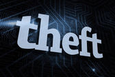 Theft against futuristic black and blue background — Stock Photo