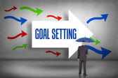 Goal - setting against arrows pointing — Stock Photo