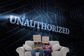 Word unauthorized and silly employees — Stock Photo
