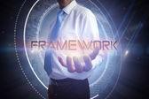 Businessman presenting the word - framework — Stock Photo