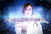 Word algorithm and portrait of female nurse — Stock Photo
