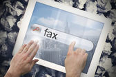 Hand touching fax on search bar on tablet screen — Stock Photo