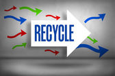 Recycle - against arrows pointing — Stock Photo