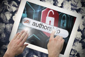Hand touching authorship on search bar on tablet screen — Stock Photo