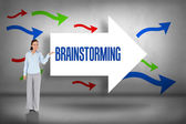 Brainstorming against arrows pointing — Stock Photo