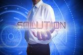 Hombre de negocios que presenta la solución de la palabra — Foto de Stock