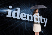 Businesswoman behind the word identity — Stock Photo