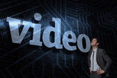 Video against futuristic black and blue background — Stock Photo