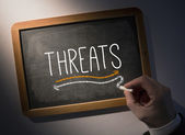 Hand writing Threats on chalkboard — Stock Photo