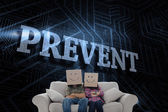Word prevent and silly employees — Stock Photo