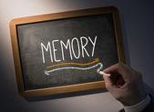 Hand writing Memory on chalkboard — Stock Photo