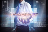 Businessman presenting the word javascript — Stock Photo