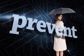 Businesswoman behind the word prevent — Stock Photo