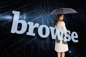 Businesswoman behind the word browse — Stock Photo