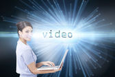 Video against abstract technology background — Stock Photo