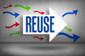 Reuse - against arrows pointing — Stock Photo