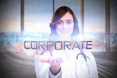Word corporate and portrait of female nurse — Stock Photo