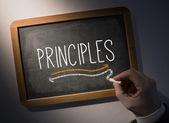 Hand writing Principles on chalkboard — Foto Stock