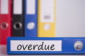 Overdue on blue business binder — Stock Photo