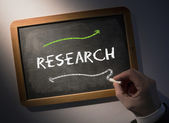 Hand writing Research on chalkboard — Stock Photo