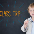 Class trip! against schoolboy and blackboard — Stock Photo #44884121