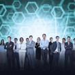 Business team against hexagon — Foto Stock
