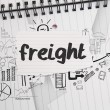 Freight against brainstorm doodles on notepad paper — Stock Photo