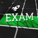 Exam against black keyboard — Stock Photo
