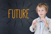 Future against schoolboy and blackboard — Stock Photo