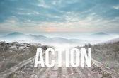 Action against stony path — Stock Photo