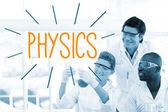 Physics against scientists working in laboratory — Stock Photo
