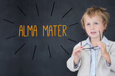 Alma mater against schoolboy and blackboard — Stock Photo