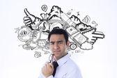 Thinking businessman holding glasses — Stock Photo