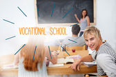 Philosophy against students in a classroom — Stock Photo