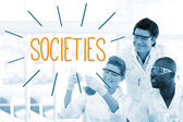 Societies against scientists working in laboratory — Stock Photo