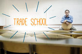 Trade school against lecturer sitting in lecture hall — Stock Photo