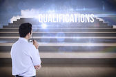 Qualifications against steps against blue sky — Stock Photo