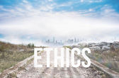 Ethics against stony path — Stock Photo