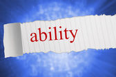 Ability against bright futuristic binary code spiral — Stock Photo