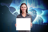 Businesswoman showing card — Stock Photo