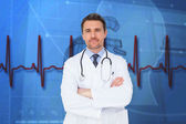 Young doctor with arms crossed — Stock Photo