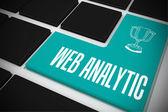 Web analytic on black keyboard — Stock Photo