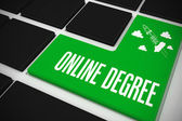Online degree on black keyboard — Stock Photo