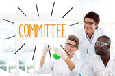 Committy against scientists working in laboratory — Stock Photo