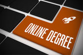 Online degree on black keyboard — Stok fotoğraf