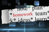 Homework against futuristic technology interface — Stockfoto