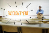 Encouragement against lecturer sitting in lecture hall — Stock Photo