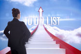 To do list against red steps arrow pointing up against sky — Stock Photo